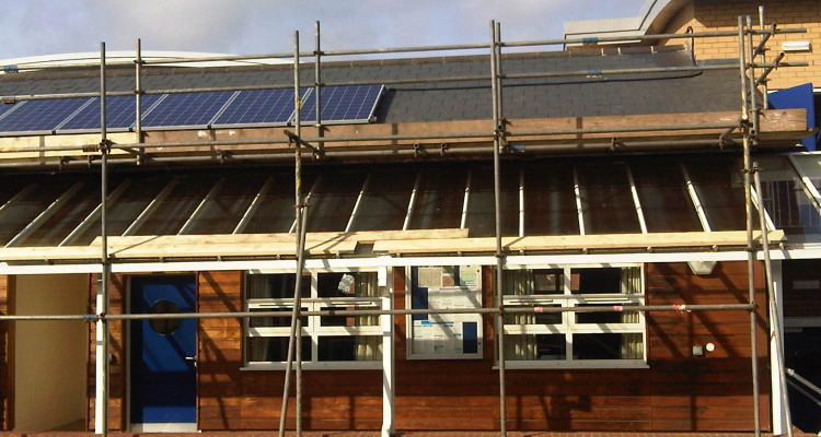 PV panels on a school encourages sustainability club