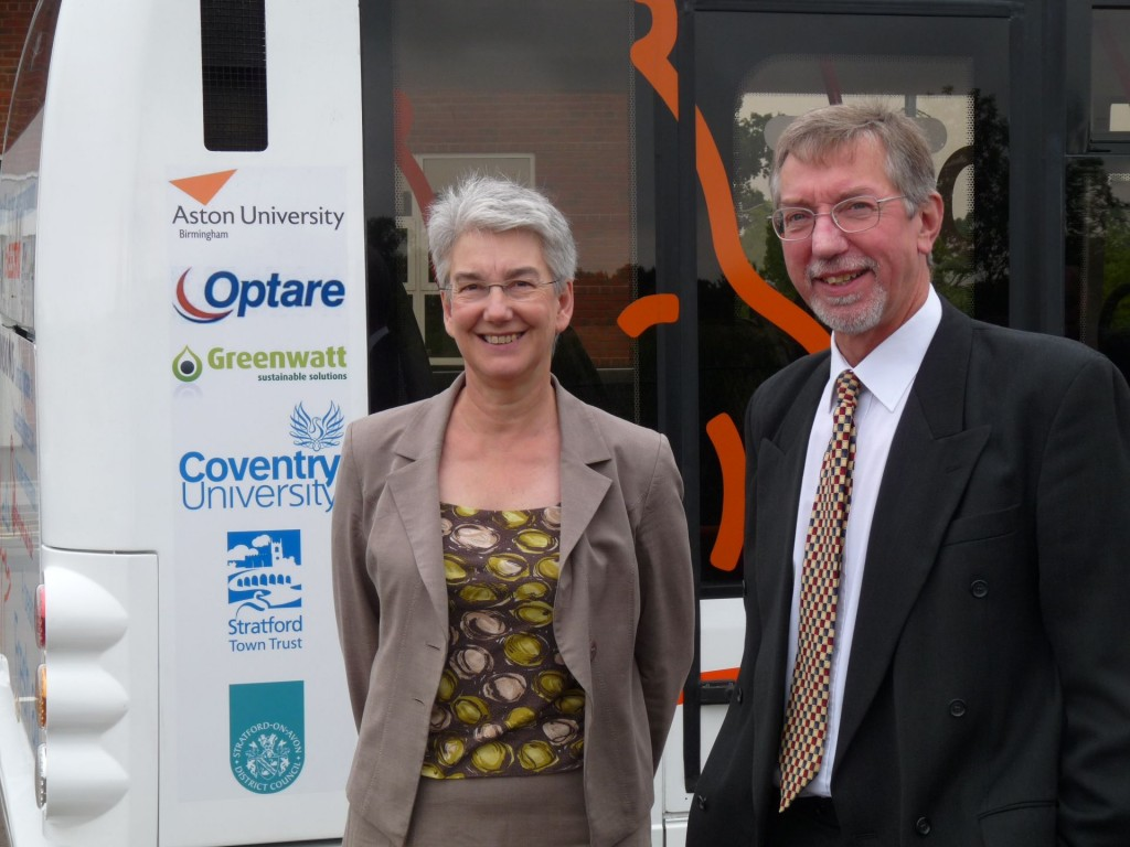 Susan Juned and Mike Woollacott at the launch of the electric bus trial